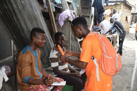 Peer Educators giving information to Residents of Old Fadama