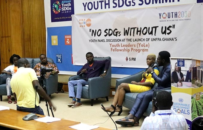 "Panelists, during the ""No SDGs Without Us"" discussions at the 2nd Youth SDGs Summit"