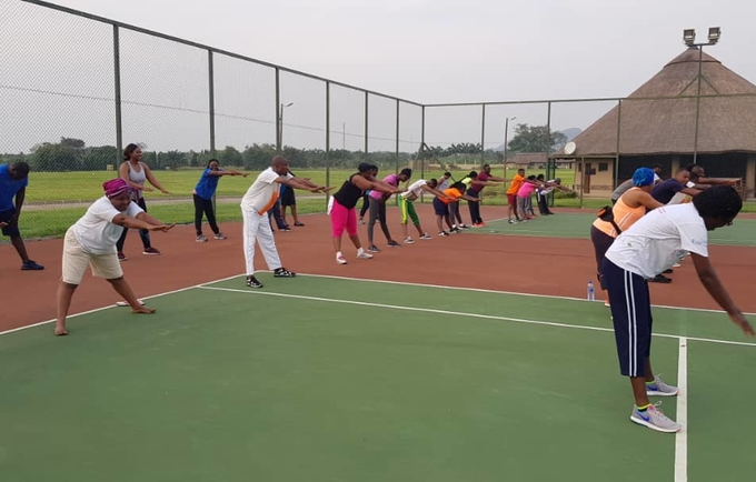 Fitness session for staff
