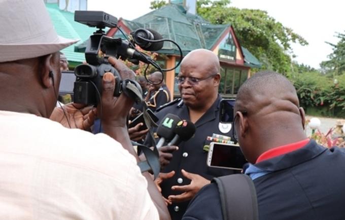 IGP, Mr. James Oppong Boanuh, addressing the media