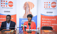 Ms Stephanie Linus, UNFPA Regional Ambassador and Mr. Niyi Ojuolape UNFPA Ghana Rep at the press interaction